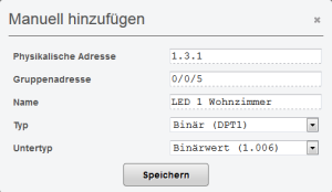 EIB/KNX Manuell hinzufügen