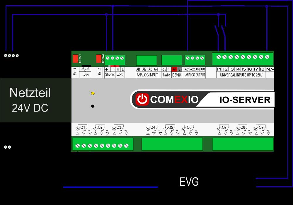 Anschluss von analogen Aktoren 0-10V, z.B. dimmbaren EVG's und analogen Heizungsstellventilen
