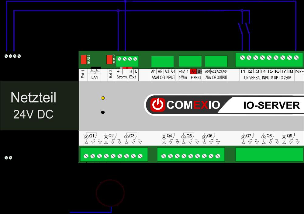 Anschluss an Rollläden und Motoren inkl. Verriegelung