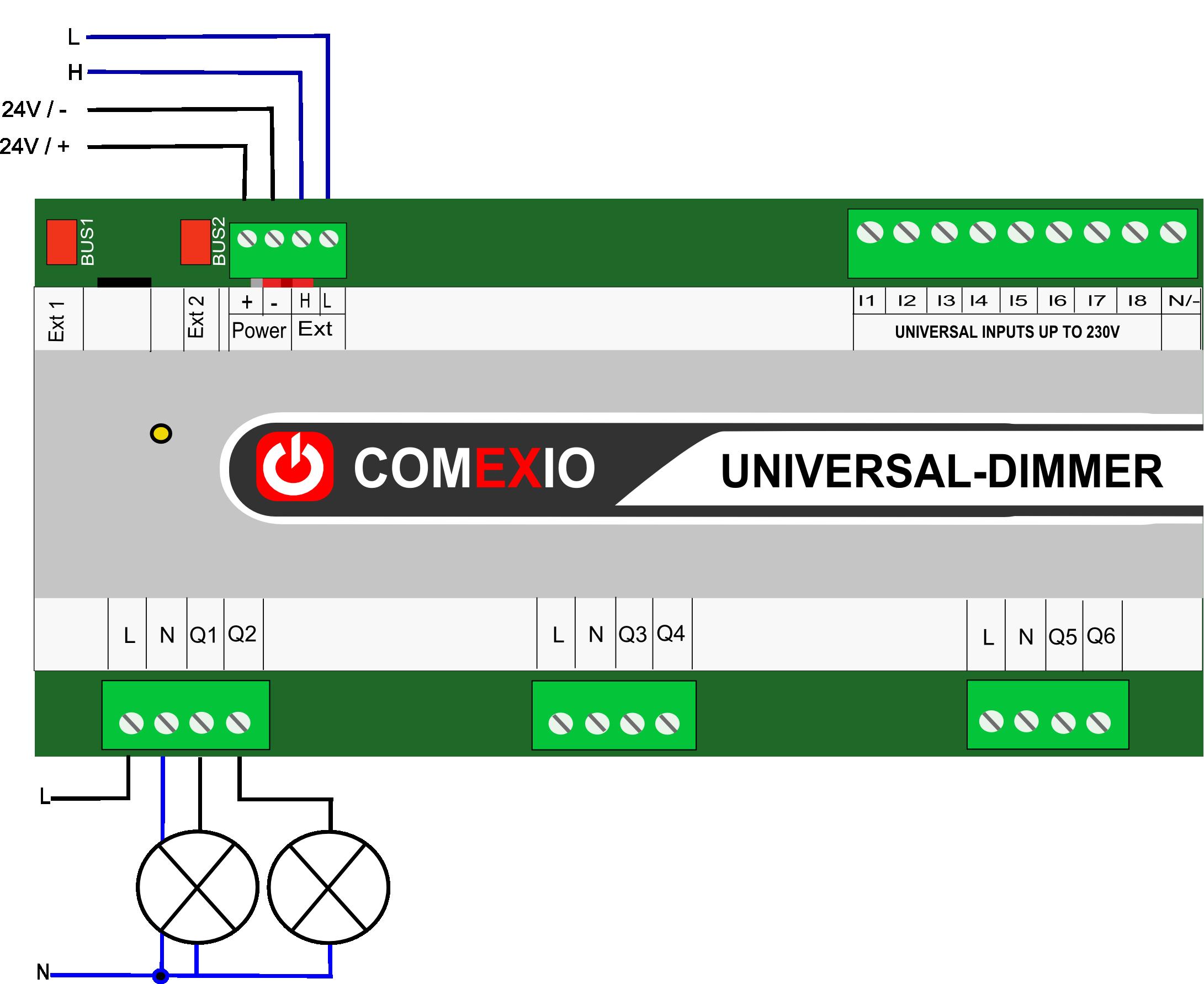 Verdrahtung Universal-Dimmer